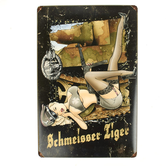 German WWII Vintage Metal Sign Panzer Schmeisser Tiger