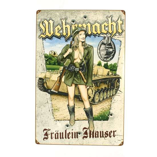 German WWII Vintage Metal Sign Fraulein Mauser with 98k Rifle