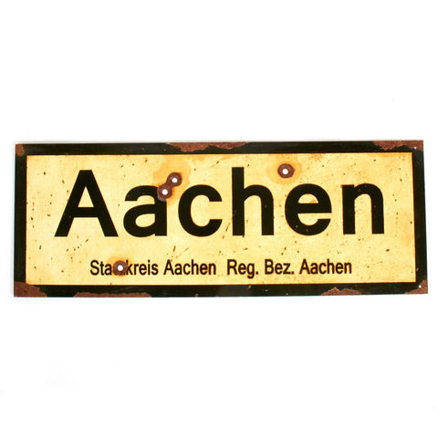 "WWII Aged Steel Sign - Aachen (33"" x 12"") New Made Items"