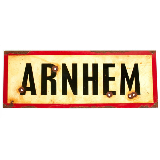 "WWII Aged Steel Sign - Arnhem (33"" x 12"") New Made Items"