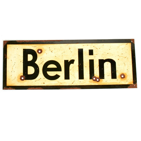 "WWII Aged Steel Sign - Berlin (33"" x 12"")"