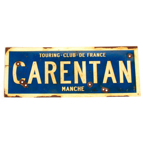 "WWII Aged Steel Sign - Carentan  (33"" x 12"")"