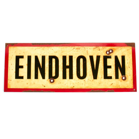 "WWII Aged Steel Sign - Eindhoven (33"" x 12"") New Made Items"