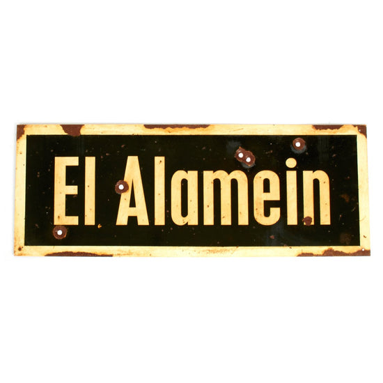 "WWII Aged Steel Sign - El Alamein  (33"" x 12"") New Made Items"