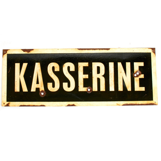 "WWII Aged Steel Sign - Kasserine (33"" x 12"") New Made Items"