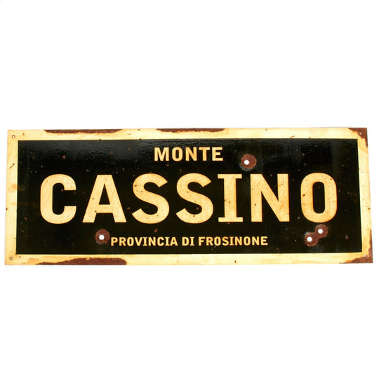 "WWII Aged Steel Sign - Monte Cassino  (33"" x 12"") New Made Items"