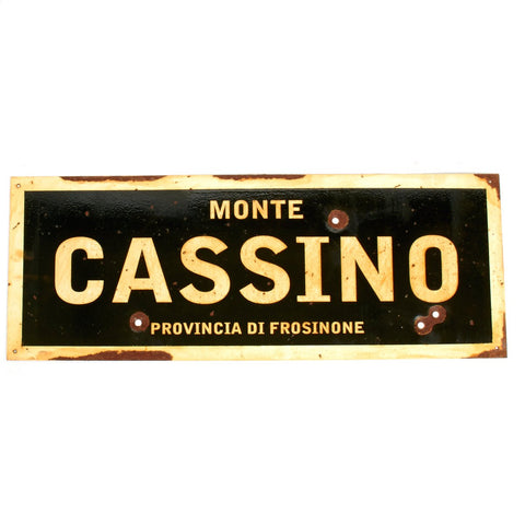 "WWII Aged Steel Sign - Monte Cassino  (33"" x 12"")"