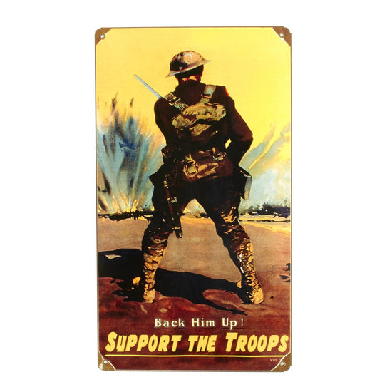U.S. WWI Vintage Metal Sign: Back Him up