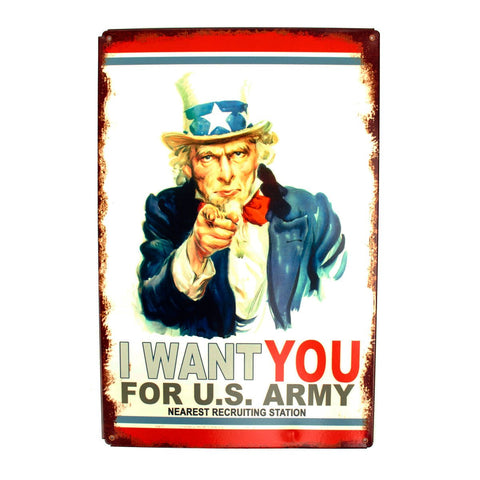 U.S. WW2 Vintage Metal Sign: Uncle Sam Recruiting New Made Items