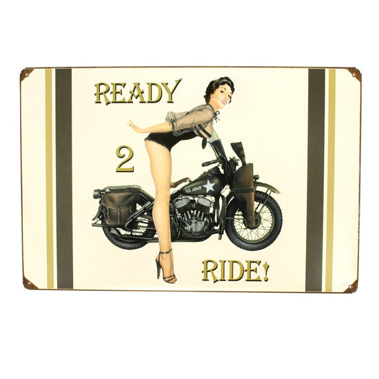 U.S. WW2 Vintage Metal Sign: 1943 Harley-Davidson Pinup New Made Items