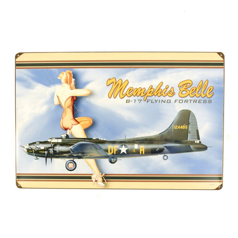 U.S. WW2 Vintage Metal Sign: B-17 Memphis Belle New Made Items