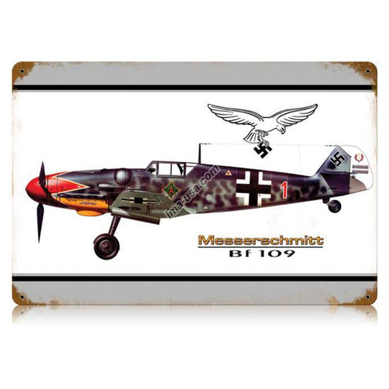 German WW2 Vintage Metal Sign- Messerschmitt Bf 109 Fighter Plane