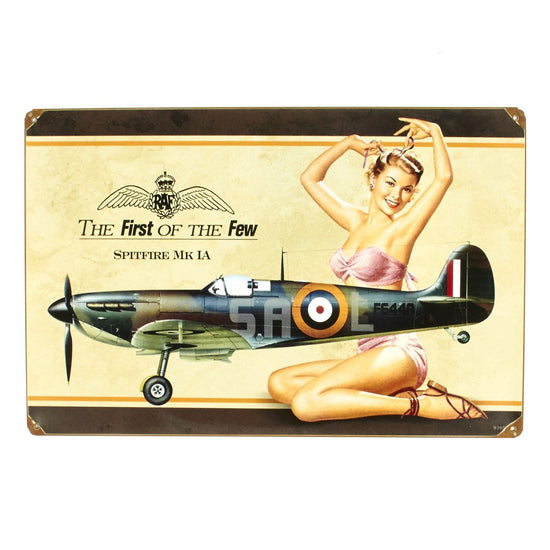 British WW2 Vintage Metal Sign: Spitfire Pinup