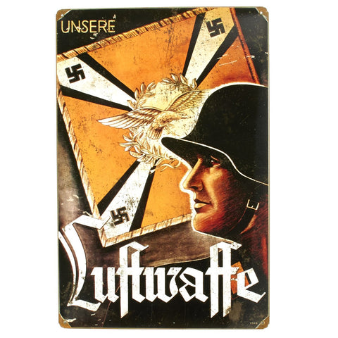 German WW2 Vintage Metal Sign: Luftwaffe