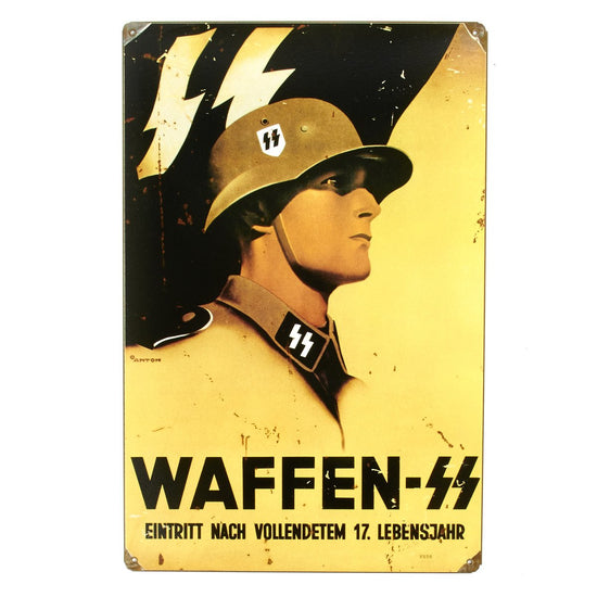 German WW2 Vintage Metal Sign: Waffen SS New Made Items