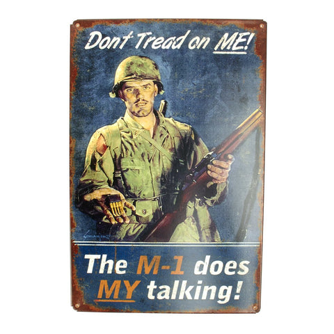 U.S. WW2 Vintage Metal Sign: Let My M1 Do the Talking