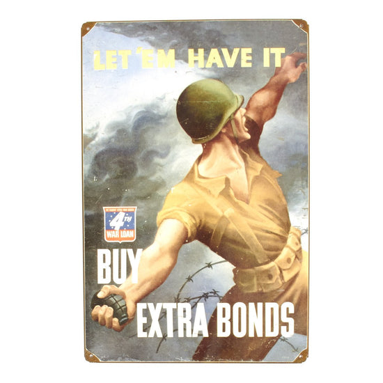 U.S. WW2 Vintage Metal Sign: Buy War Bonds - Pineapple Grenade