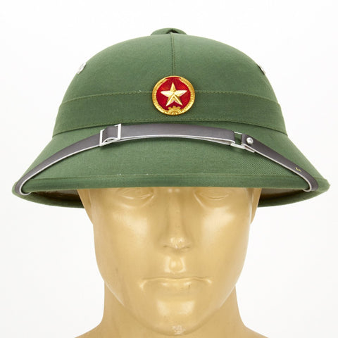 North Vietnamese Army Viet Cong Pith Helmet with Red Star Badge