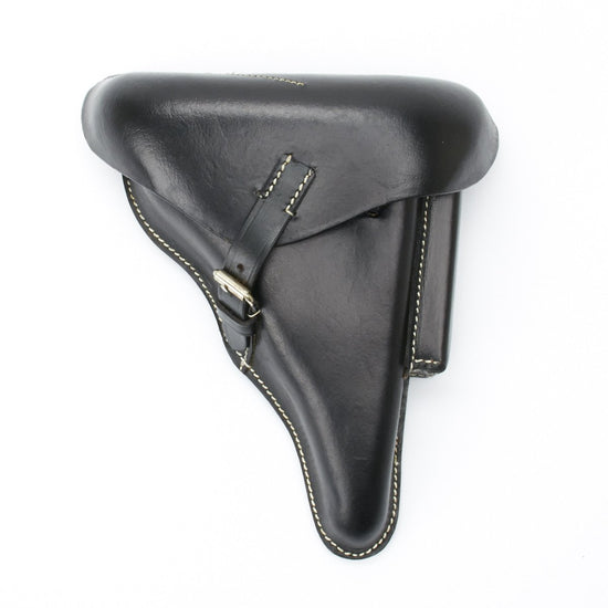 German WWII P08 Luger Black Leather Hardshell Holster