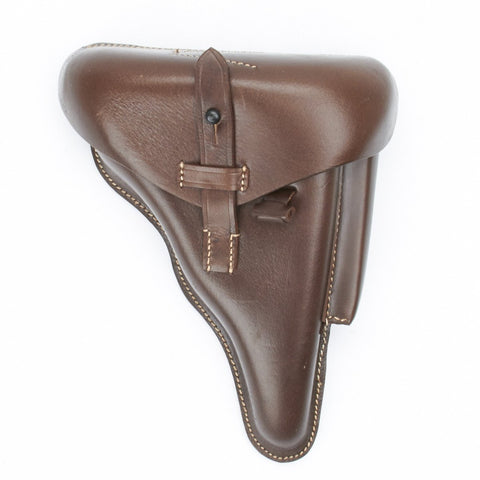 German WWII P08 Luger Brown Leather Hardshell Police Holster