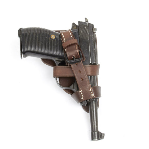 German WWII Walther P38 Paratrooper Open Holster - Brown Leather