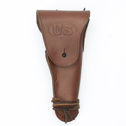 U.S. WWII M1916 1911 .45 cal Brown Leather Hip Holster Embossed US
