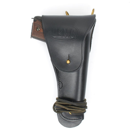 U.S. WWII M1911 .45cal Black Leather Hip Holster Embossed U.S.M.C