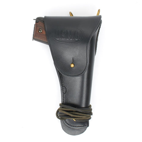 U.S. WWII M1911 .45cal Black Leather Hip Holster Embossed U.S.M.C New Made Items