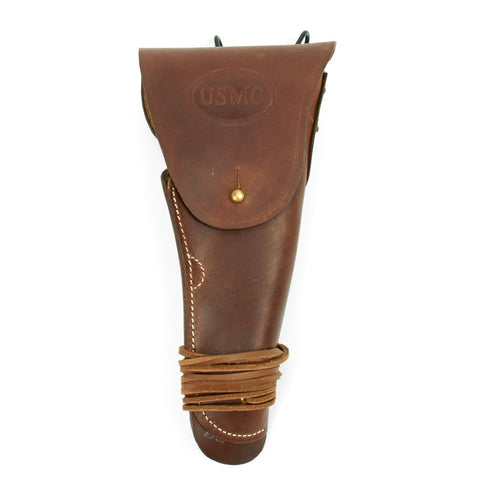 U.S. WWII M1911 .45cal  Brown Leather Hip Holster Embossed USMC