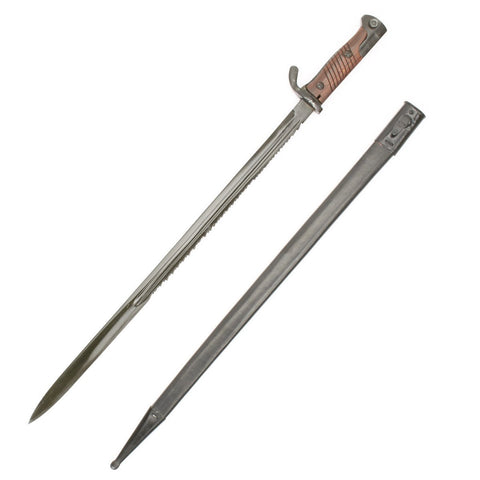 German WWI Gewher 98 Sawback Machine Gunner Bayonet and Scabbard