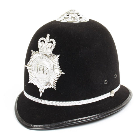 British Bobby Police Helmet Rose Top and Hertfordshire Constabulary Plate