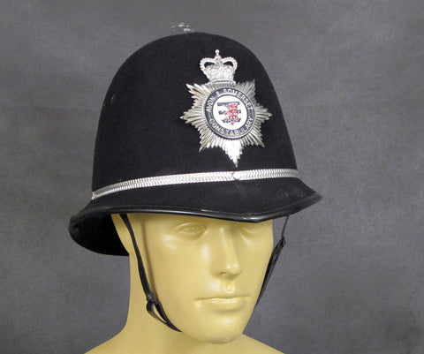British Bobby Police Helmet: Rose Top with Enamel Plate