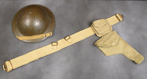 British WWII Era Officer Web Set: Holster, Ammo Pouch & Belt