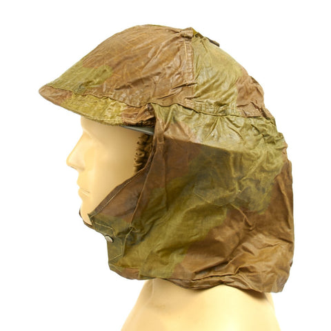 Original British WWII Brodie Helmet Waxed Camo Cover with Havelock