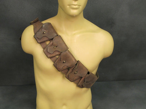 British P-1903 Original Pre WWI 5 Pocket Leather Bandolier: Grade 1
