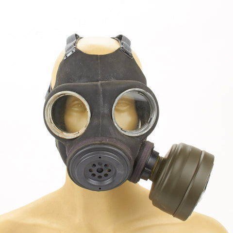 British WWII P-1944 Paratrooper Gas Mask with Carry Bag- German Filter Conversion