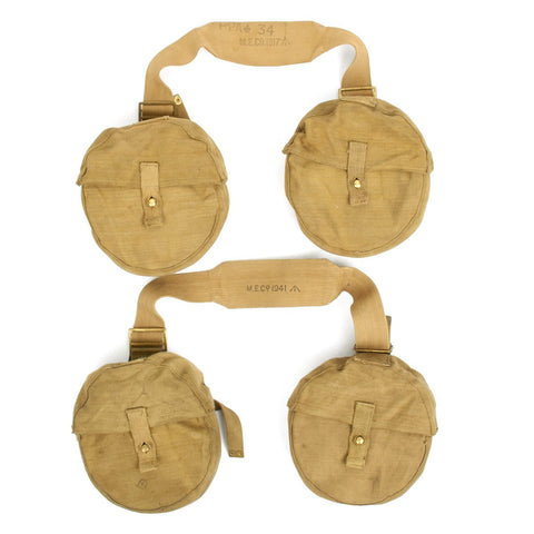 Original British WWII Lewis Machine Gun Drum Pouch Carrier Set- 4 Pouches with 2 Straps Original Items
