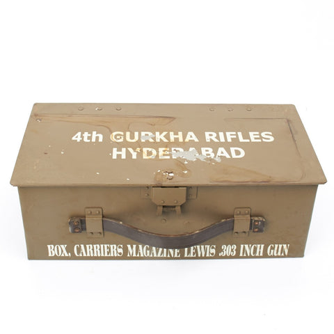 British WWI Gurkha Marked Lewis Drum Magazine Chest- Grade 2