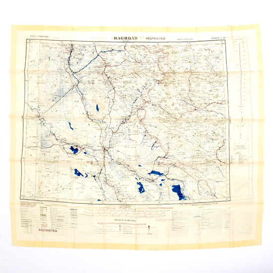 Original British WWII & Gulf War Silk Map of Iraq- Baghdad & Basra