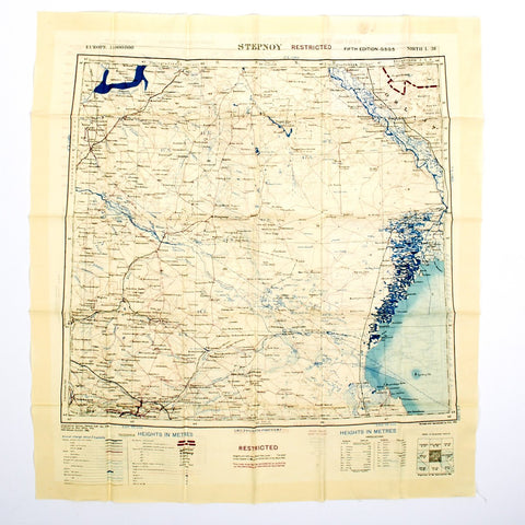 "British WWII Era Silk Escape & Evasion Map of Stalingrad Russia 1919-1952 (21 ""x 23"")"