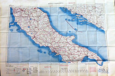 "British WWII Era Silk Escape & Evasion Map of Rome, Southern Italy & Sicily (35"" x 25"")"