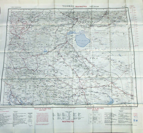 Original British WWII Era Silk Escape & Evasion Map of Tehran Iran