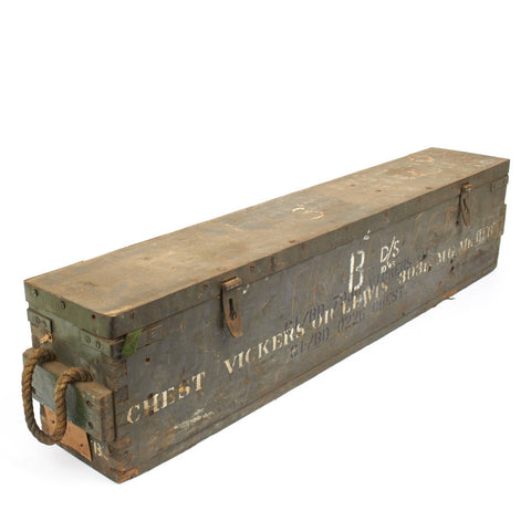 Original British WWII Vickers Machine Gun and Lewis Gun Wood Transit Chest- Empty