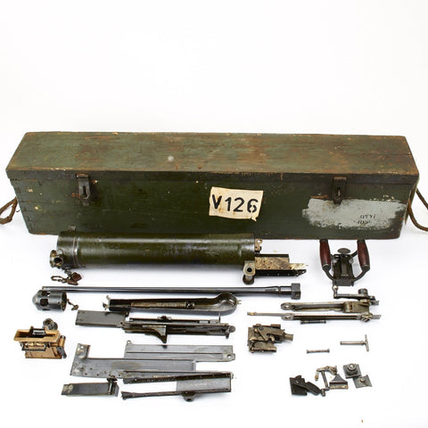 Original WWII British Vickers Medium Machine Gun .303 cal Parts Set with Transit Chest Original Items