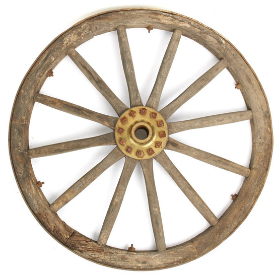 Original British Victorian Era Cannon Wagon Wooden Wheel- 36 Inch Diameter