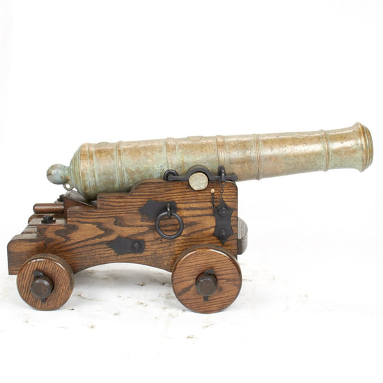 Original Late 18th Century Bronze 2-Pounder Cannon with Oak Naval Carriage