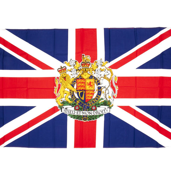 "Union Jack with the Royal Coat of Arms of Great Britain Flag 3"" x 5"