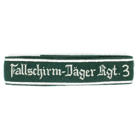 German WWII Military Wool Uniform Cuff Title Fallschirm-Jager Rgt. 3
