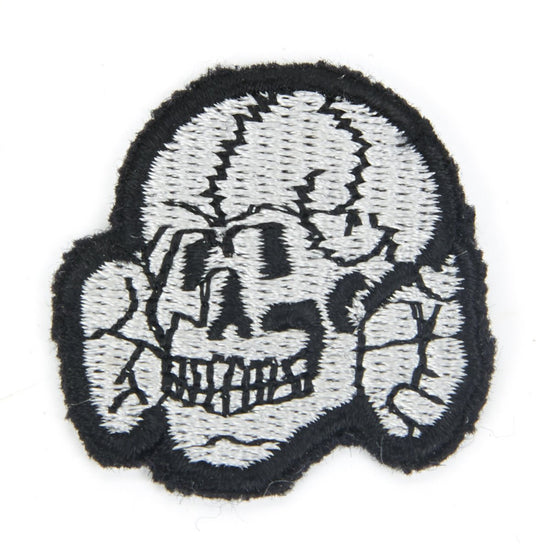 German WWII Wool Embroidered Totenkopf SS Death's Head Badge