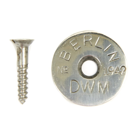 German WWII Mauser Rifle Butt Steel Marking Disc